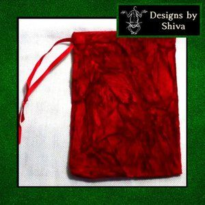 Red Crushed Velvet Large Pouch Bag
